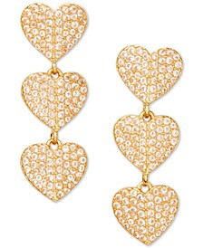Gold-Tone Pavé Triple Heart Drop Earrings