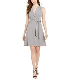 Notch-Collar Belted Dress