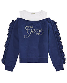 GUESS Big Girls Crystal Cold-Shoulder Top