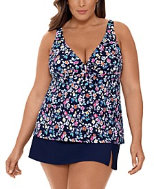 Plus Size Floral-Print Tankini Top & Bottoms, Created For Macy's