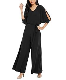 Petite Embellished Split-Sleeve Jumpsuit