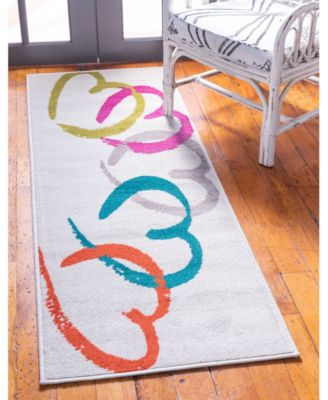 Chain Of Hearts Jso002 White 2' x 6' Runner Rug