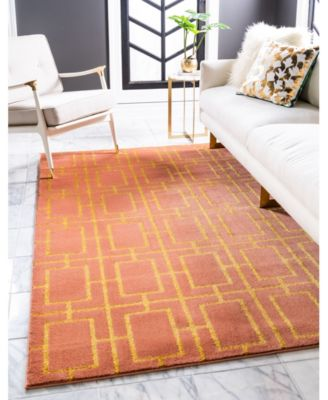 Glam Mmg002 Coral/Gold 5' x 8' Area Rug