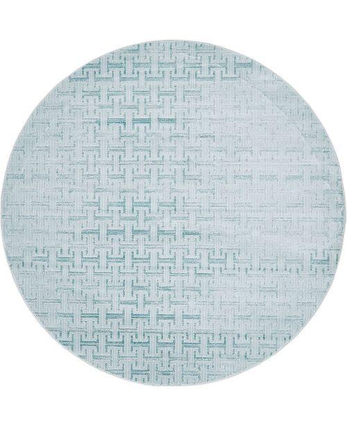 Jill Zarin Park Avenue Uptown Jzu004 Blue 8' x 8' Round Rug
