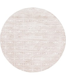 Fifth Avenue Uptown Jzu002 Light Brown 8' x 8' Round Rug
