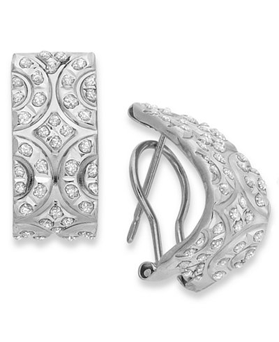 14k White Gold Earrings, Diamond Accent J Hoop Earrings
