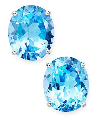 Macy S 14k White Gold Earrings Oval Cut Blue Topaz Stud Earrings