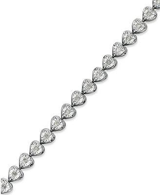 Diamond Heart Bracelet 1 2 ct t w in Sterling Silver