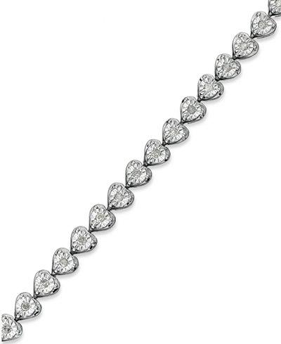 Diamond Heart Bracelet (1/2 ct. t.w.) in Sterling Silver
