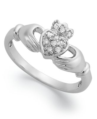 Diamond Claddagh Ring in Sterling Silver (1/10 ct. t.w.)