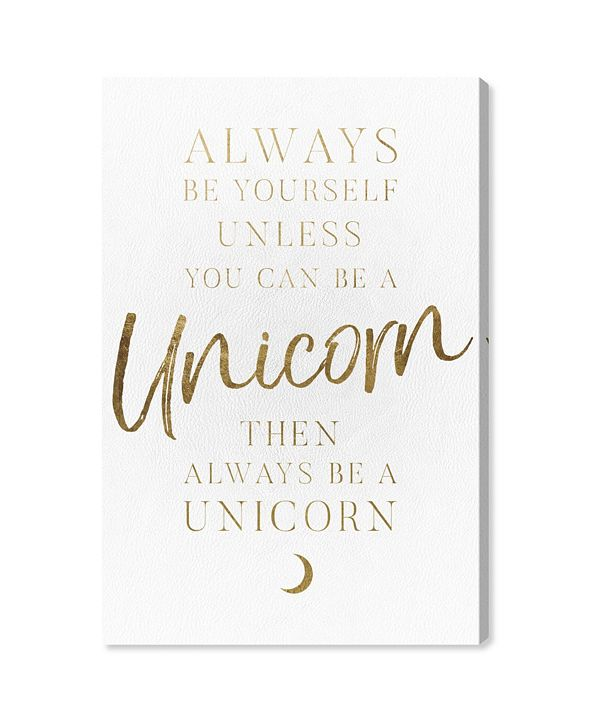 "Oliver Gal Always Be A Unicorn Canvas Art, 10"" x 15"""