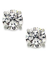 INC International Concepts Silver-Tone Round Cubic Zirconia Stud Earrings (4 ct. t.w.)