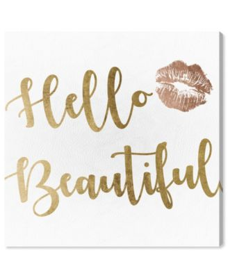Hello Beautiful Gold and Leather Canvas Art, 12