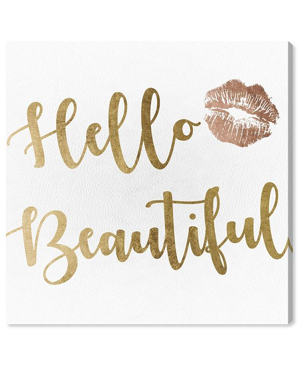 "Oliver Gal Hello Beautiful Gold and Leather Canvas Art, 12"" x 12"""