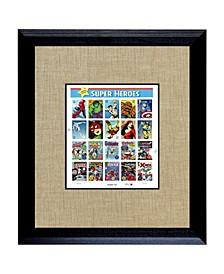 "Super Heroes 2 U.S. Stamp Sheet in Wood Frame, 16"" X 14"""