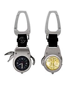 Gold Layered Silver Walking Liberty Half Dollar Coin Multi-Tool Pocket Watch Compass