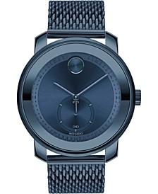 Men's Swiss Bold Blue Ion-Plated Stainless Steel Mesh Bracelet Watch 45mm