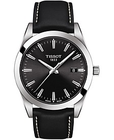 Men's Swiss T-Classic Gentleman Black Leather Strap Watch Watch 40mm