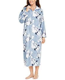 Floral-Print Fleece Long Zipper Robe