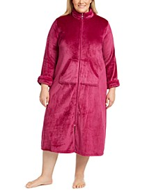 Plus Size Fleece Long Zipper Robe