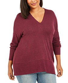 Plus Size Drop-Sleeve Marled Tunic, Created For Macy's