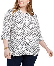 Plus Size Printed Roll-Tab Shirt