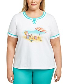 Plus Size Beach-Scene Lace-Up Top
