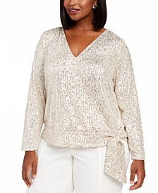 INC Plus Size Sequinned Surplice Top, Created For Macy's