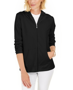 Karen Scott PETITE LONG-SLEEVE ZIP-FRONT HOODIE, CREATED FOR MACY'S