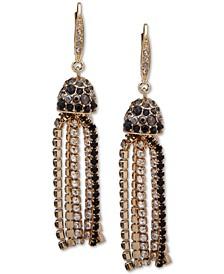 Gold-Tone Ombré Scattered Stone Crystal Tassel Earrings