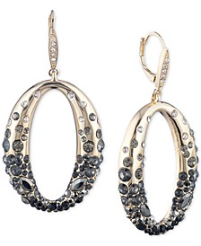 Gold-Tone Ombré Scattered Stone Link Drop Earrings