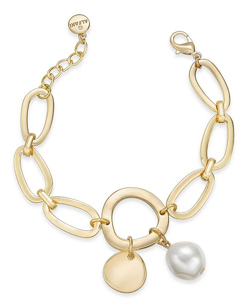 Alfani Gold-Tone Disc & Imitation Pearl Link Bracelet, Created for Macy's