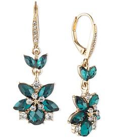 Gold-Tone Crystal & Stone Flower Drop Earrings