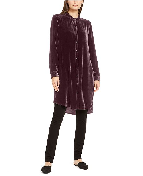 Eileen Fisher Mandarin-Collar Tunic Shirt