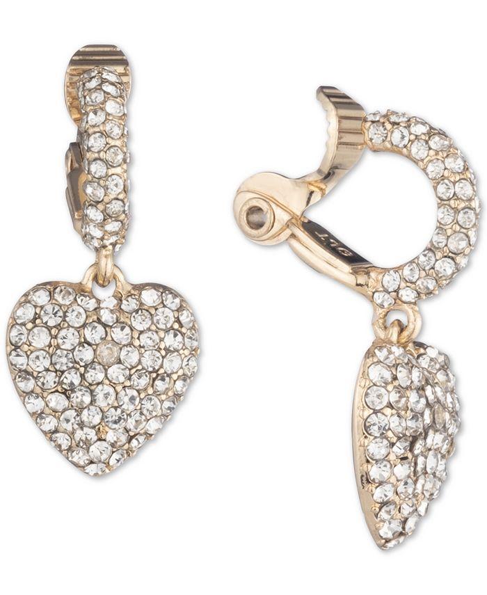 Anne Klein - Gold-Tone Pavé Heart Clip-On Drop Earrings