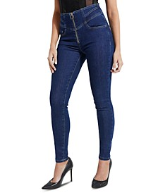 High-Rise Zip-Front Skinny Jeans