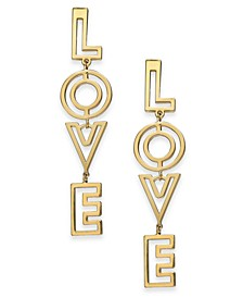 "Gold-Tone ""Love"" Linear Drop Earrings, Created For Macy's"