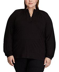 Lauren Ralph Lauren Plus Size Jersey Mockneck Blouse