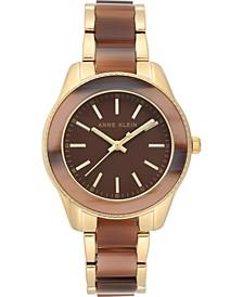 Women's Gold-Tone & Brown Resin Bracelet Watch 37.5mm