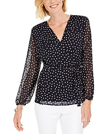 Dotted Wrap Top, Created for Macy's