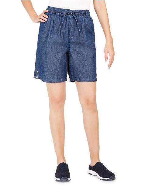 Karen Scott Cotton Pull-On Shorts, Created for Macy's