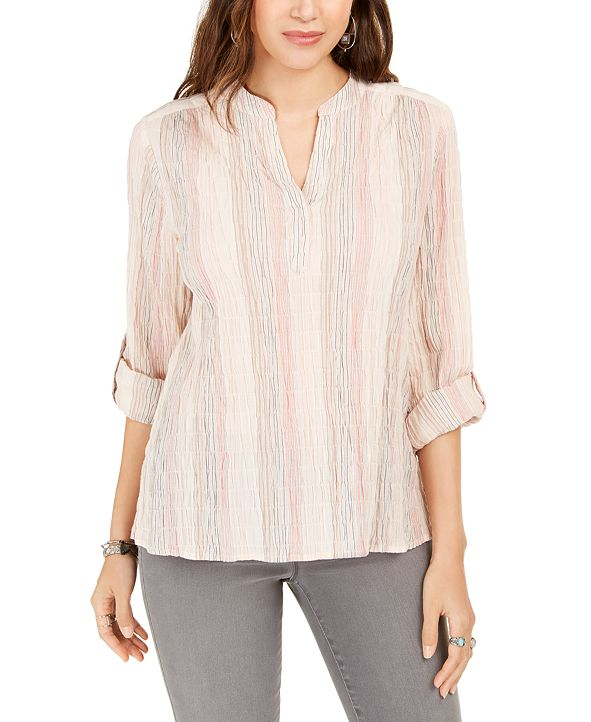 Style & Co Striped Split-Neck Top, Created for Macy's
