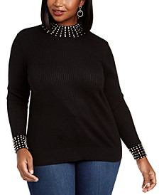 Plus Size Embellished Mock-Neck Top