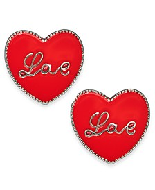 Silver-Tone Love Heart Stud Earrings, Created For Macy's