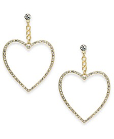 Gold-Tone Crystal Open Heart Drop Earrings, Created For Macy's