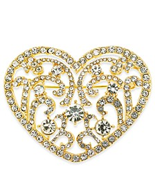 Gold-Tone Crystal Filigrée Heart Pin, Created For Macy's