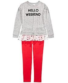 Big Girls Hello Weekend Top & Sweater Leggings, Created For Macy's