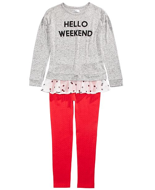 Epic Threads Big Girls Hello Weekend Top & Sweater Leggings, Created For Macy's