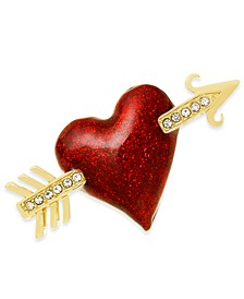 Gold-Tone Crystal Arrow Heart Pin, Created For Macy's