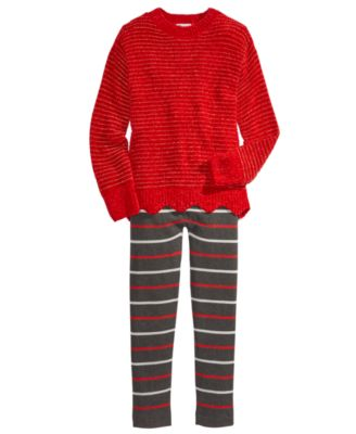 Big Girls Striped Cable Knit Leggings, Created For Macy's